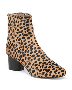 Made In Italy Round Heel Leopard Haircalf Booties
