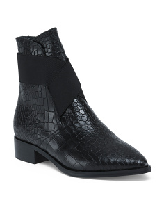 Made In Italy Croc Embossed Leather Booties