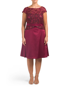 Plus Corded Lace Satin Dress