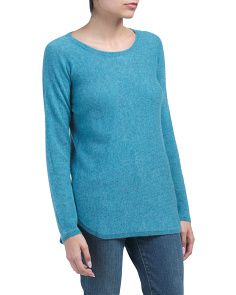 Round Hem Back Zip Cashmere Sweater
