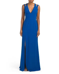 V Neck Crepe Gown With Back Cut Outs