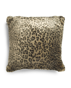 20x20 Faux Fur Dark Snow Leopard Pillow