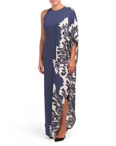 One Shoulder Sleeve Printed Gown