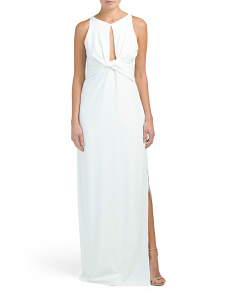 Round Neck Crepe Gown