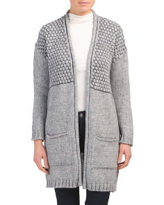 Made In Italy Mixed Knit Textured Cardigan