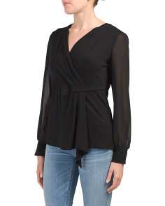 Long Cuff Surplice Top With Pleats