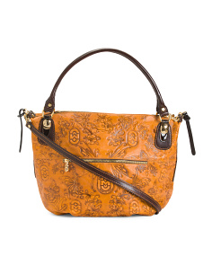 Made In Italy Leather Butterfly Print Bag