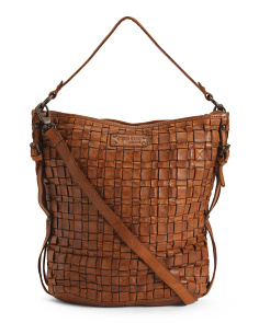Made In Italy Leather Full Woven Hobo