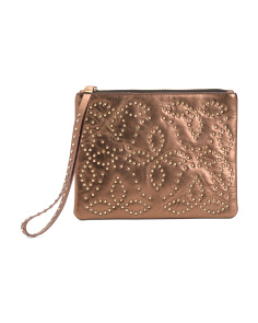 Made In Italy Floral Studded Leather Wristlet