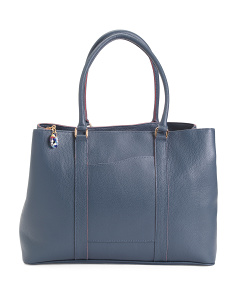 Made In Italy Multi Entry Leather Tote