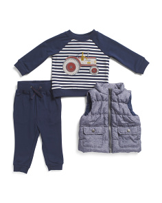 Infant Boys 3pc Tractor Vest Pant Set