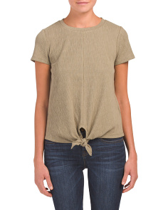 Tie Front Textured Top