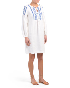 Leilani Embroidered Linen Dress