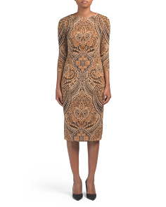 Feather Scroll Midi Dress