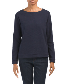 Textured Knit Top With Banded Hem