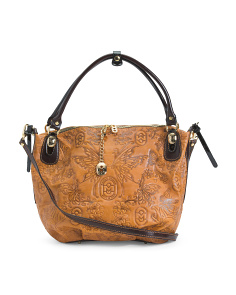 Made In Italy Butterfly Leather Satchel