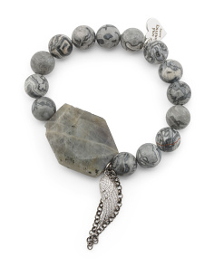 Handcrafted In California Grey Agate Labradorite Bracelet