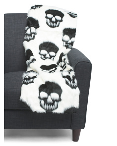 Skulls Faux Fur Throw