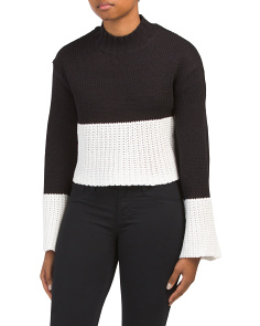 Juniors Crop Color Block Sweater