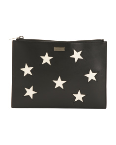 Made In Italy Zip Top Star Pouch