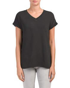 Curved Hem Oversized V-neck Tee