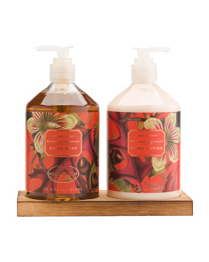 Fall Harvest Soap Set With Wooden Caddy