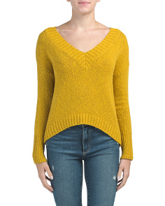 Juniors Deep V Neck Preppy Sweater