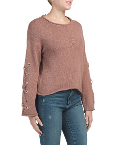 Juniors Lace Up Sleeve Sweater