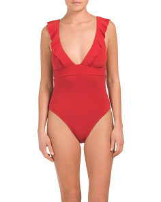 Made In Usa Lina Ruffle One-piece Swimsuit