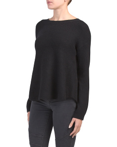 Juniors Ribbed Boat Neck Sweater