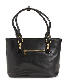 Made In Italy Leather Tote With Patent Trim