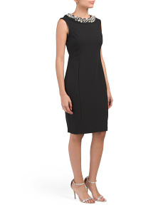 Petite Pearl Neckline Sheath Dress