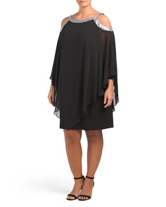 Plus Cold Shoulder Poncho Dress