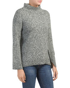 Boxy Tweed Mock Neck Sweater