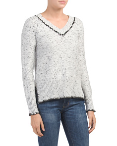 Boxy V-neck Whipstitch Sweater