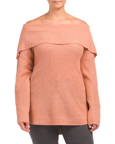 Plus Thermal Knit Cowl Neck Tunic Sweater