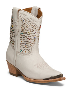 Leather Tulsa Beaded Short Boots