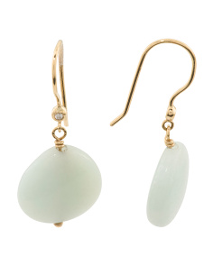 Made In Canada 18k Gold Amazonite And Diamond Earrings