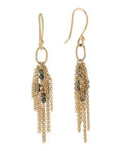 Made In Canada 18k Gold Hematite Tassel Earrings