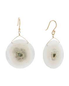Made In Canada 18k Gold White Grey Quartz Earrings