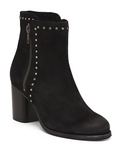Suede Addie Stud Double Zip Boots
