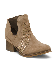 Side Cut Out Suede Booties