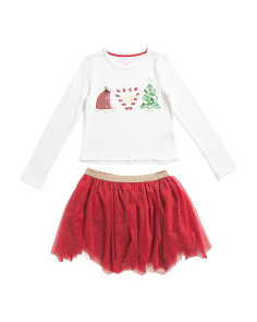 Little Girls 2pc Christmas Motif Glitter Mesh Skirt Set