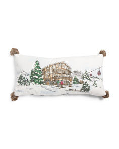 17x35 Ski Vignette Pillow