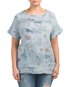 Plus Made In Italy Printed Linen Top