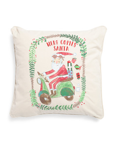 18x18 Scooter Santa Pillow