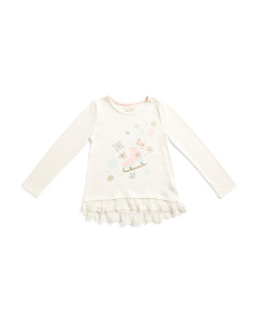 Little Girls Ice Skate Snowflake Top With Lace Hem