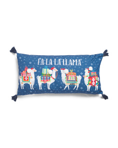 14x27 Holiday Llamas Pillow