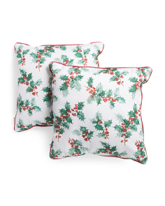 2pk 20x20 Painted Holly Outdoor Pillow