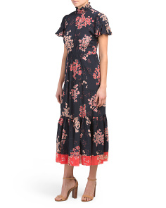 Silk Phlox Midi Dress